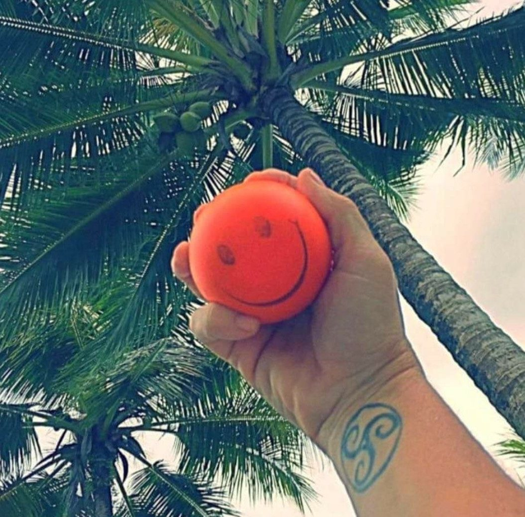 Orange ball under palm trees | Studio 2 Forty-Two